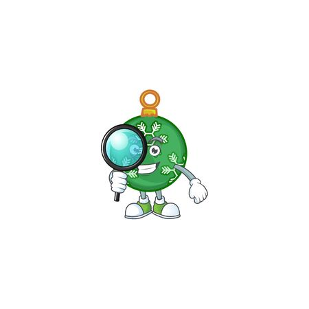 Mascot detective in the green christmas ball cartoon vector illustration Ilustrace