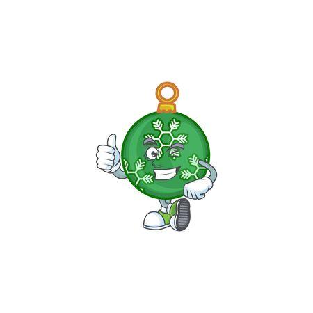 Mascot thumbs up in the green christmas ball cartoon vector illustration