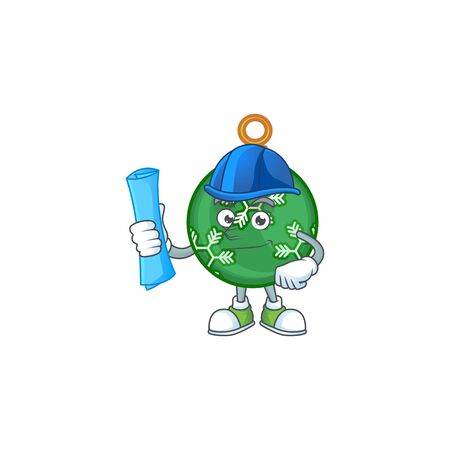 Mascot architect in the green christmas ball cartoon vector illustration