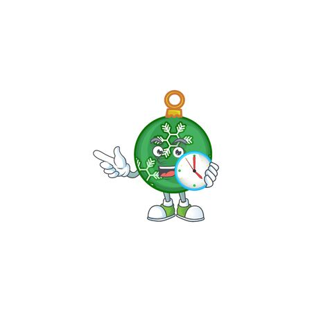 Mascot with bring clock in the green christmas ball cartoon vector illustration Stok Fotoğraf - 133963329