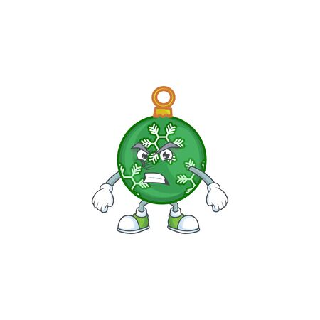 Mascot annoyed in the green christmas ball cartoon vector illustration Ilustração
