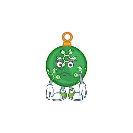 Character afraid in the green christmas ball vector illustration