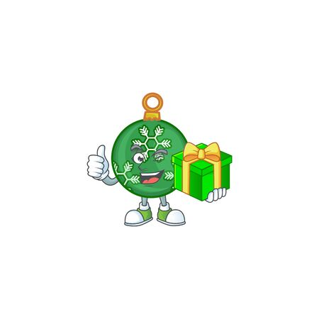 Character holding gift in the green christmas ball vector illustration