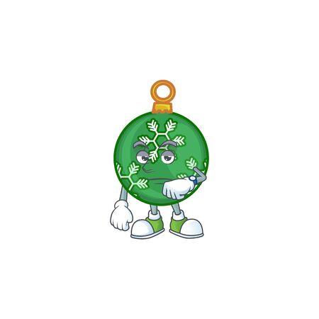 Cartoon green christmas ball with mascot waiting vector illustration Çizim