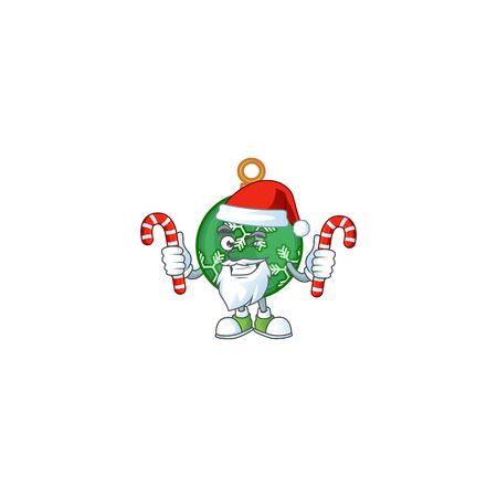 Cartoon green christmas ball with mascot santa bring candy vector illustration