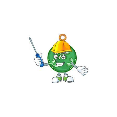Cartoon green christmas ball with mascot automotive vector illustration
