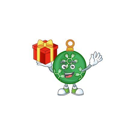 Cartoon green christmas ball with mascot bring gift vector illustration