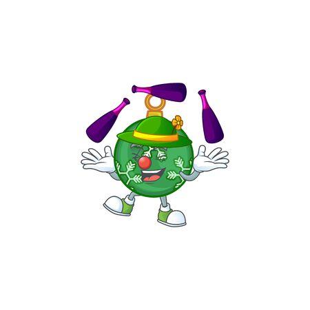 Cartoon green christmas ball with mascot juggling vector illustration