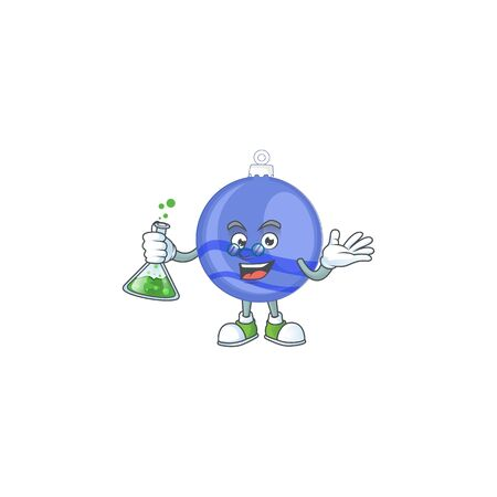Character a professor in the blue christmas ball vector illustration