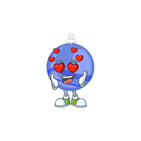 Shiny blue christmas ball cartoon with character in love vector illustration