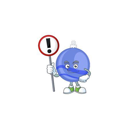 Blue christmas ball cartoon with mascot with sign warning Ilustração