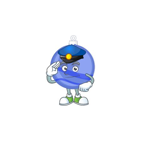 Blue christmas ball cartoon with mascot police