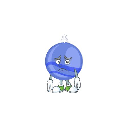 Shiny blue christmas ball cartoon with character afraid