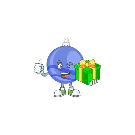 Shiny blue christmas ball cartoon with character holding gift