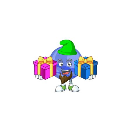 Mascot bring two gifts in the cartoon blue christmas ball