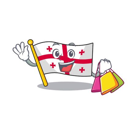 Cheerful flag georgia cartoon character waving and holding Shopping bag