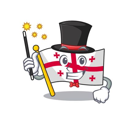 Cartoon character design of flag georgia Magician style