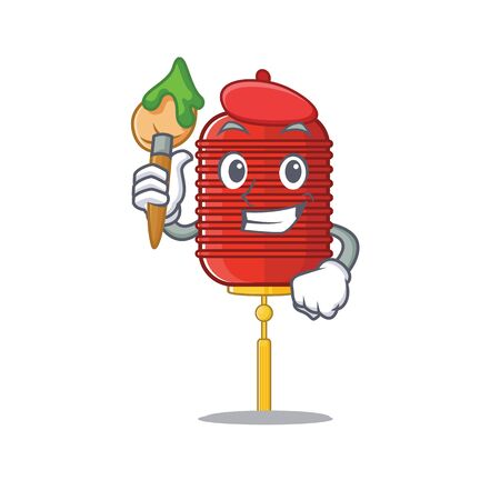 Cheerful chinese lantern Artist cartoon character with brush  イラスト・ベクター素材