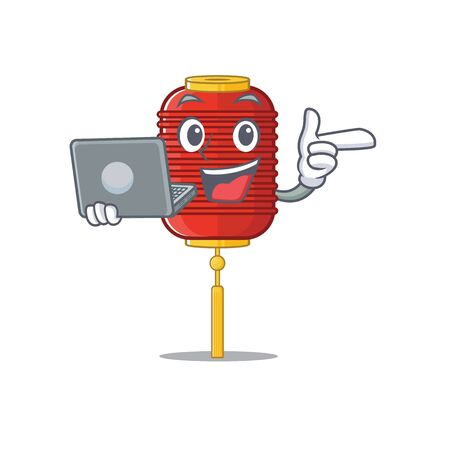 Happy smiling chinese lantern cartoon character working with laptop