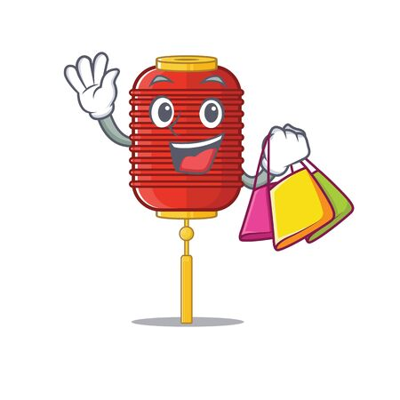 Cheerful chinese lantern cartoon character waving and holding Shopping bag Illustration