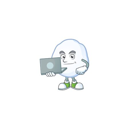 Happy smiling snowball cartoon character working with laptop. Vector illustration Illustration