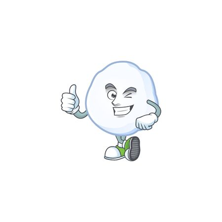 Picture of snowball making Thumbs up gesture. Vector illustration