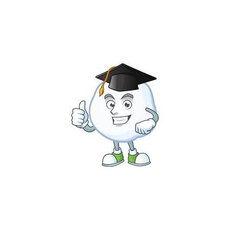 Happy snowball wearing a black Graduation hat. Vector illustration  イラスト・ベクター素材