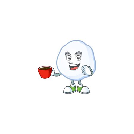 Sweet snowball cartoon character with a cup of coffee. Vector illustration