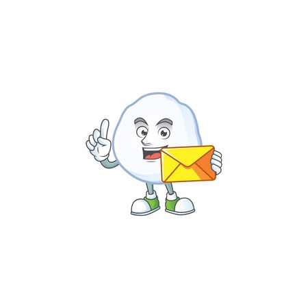 With envelope Happy face snowball mascot cartoon style. Vector illustration  イラスト・ベクター素材
