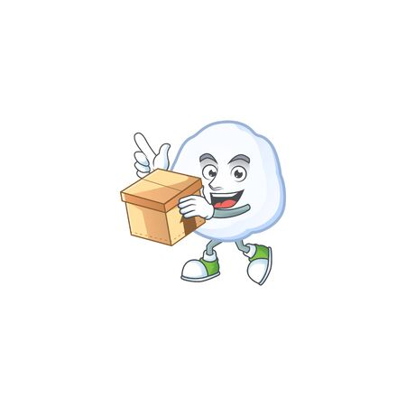 With box Super Funny snowball cartoon character style. Vector illustration