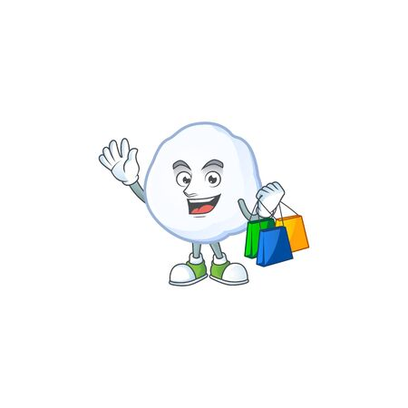 Cheerful snowball cartoon character waving and holding Shopping bags. Vector illustration