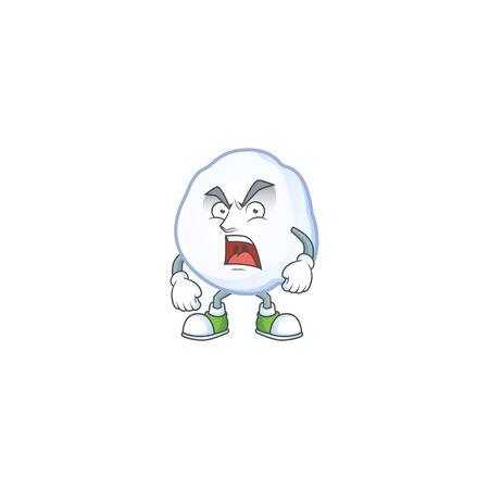 Mascot of angry snowball cartoon character design. Vector illustration
