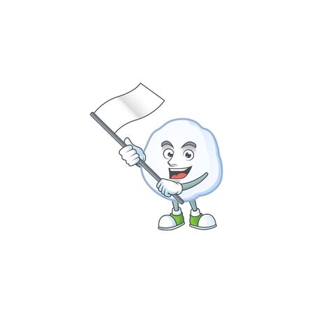 cute flag standing with snowball cartoon character style. Vector illustration