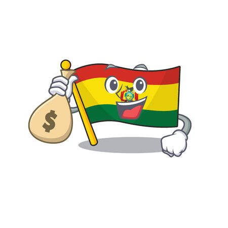 Cute flag bolivia cartoon character smiley with money bag
