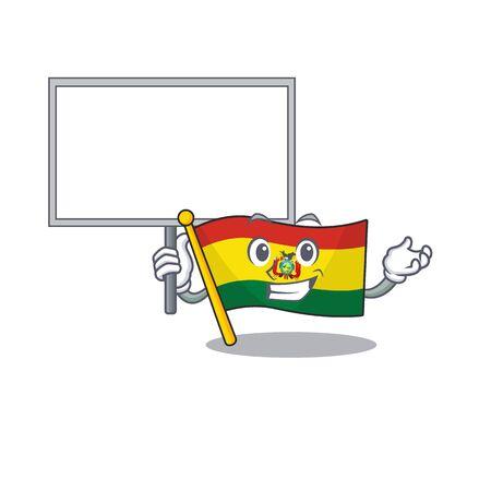 Smiling flag bolivia cute cartoon style Bring board  イラスト・ベクター素材