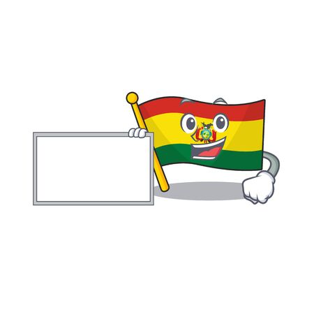 Flag bolivia with board cartoon Character design style