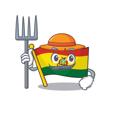 Farmer flag bolivia cartoon character with hat and tools
