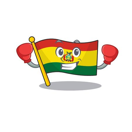 Funny Boxing flag bolivia cartoon character style 向量圖像