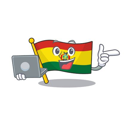Happy smiling flag bolivia cartoon character working with laptop