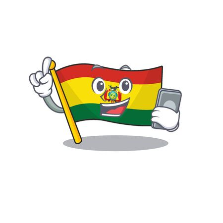 mascot cartoon style of flag bolivia speaking with phone