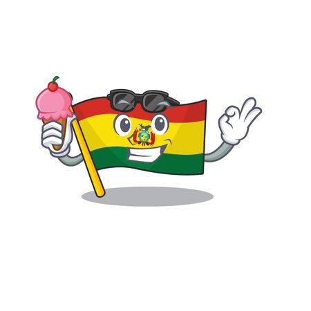 cartoon Mascot featuring flag bolivia with ice cream