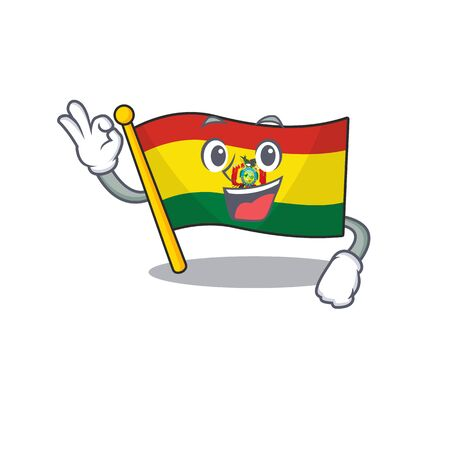 Sweet flag bolivia cartoon character making an Okay gesture