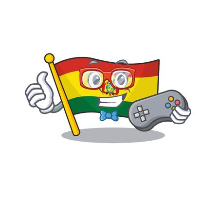 cute geek gamer flag bolivia cartoon character style