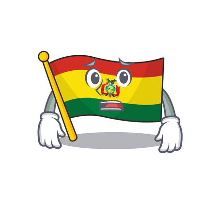 flag bolivia Cartoon character showing afraid look face