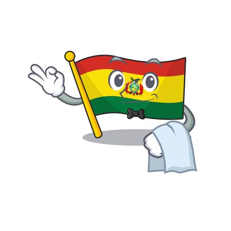Flag bolivia Character on A stylized Waiter look Stock Illustratie