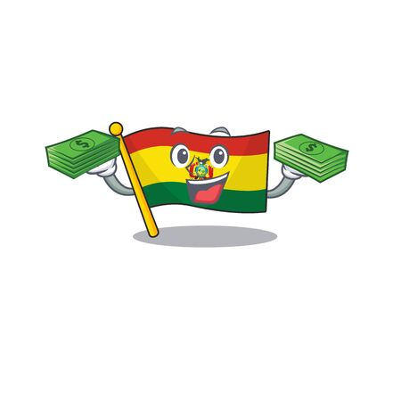 Confident smiley flag bolivia character with money