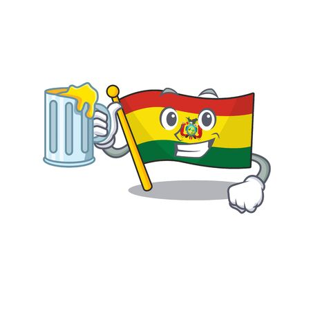 Happy flag bolivia holding a glass with juice