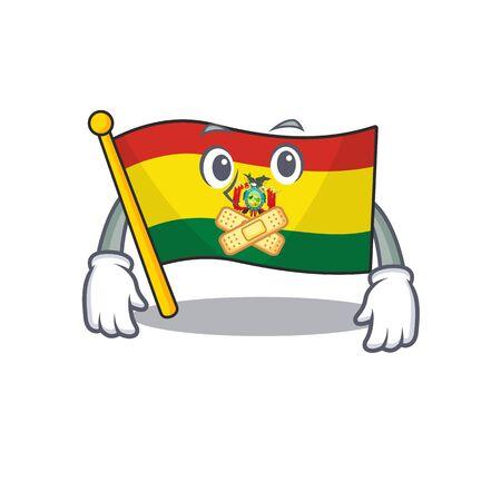 Flag bolivia mascot cartoon character style making silent gesture