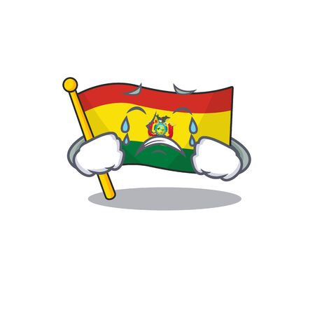 Sad Crying flag bolivia mascot cartoon style