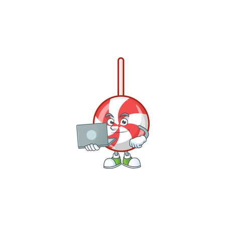Happy smiling striped peppermint candy cartoon character working with laptop. Vector illustration